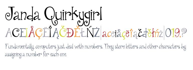 Janda Quirkygirl Regular Fonts Com